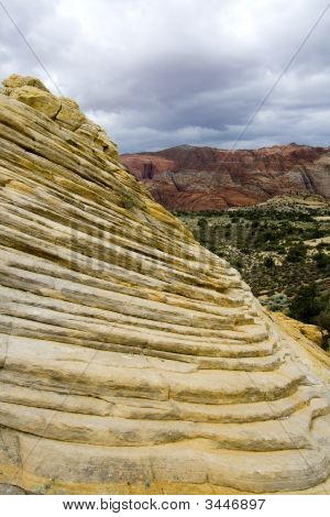 Looking Down The Sandstones In To Snow Canyon - Utah