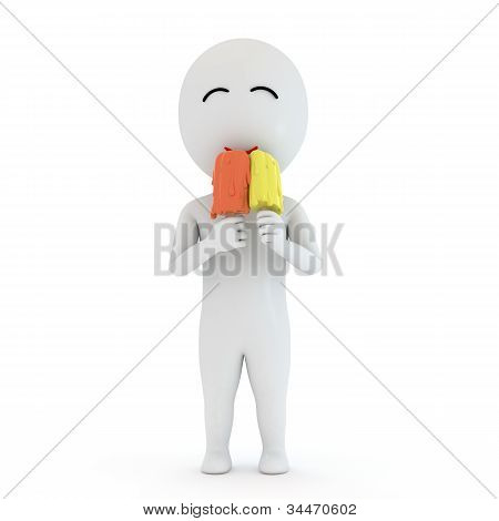 3d small people with ice cream