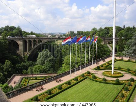 Garden And Bridge Luxembourg City