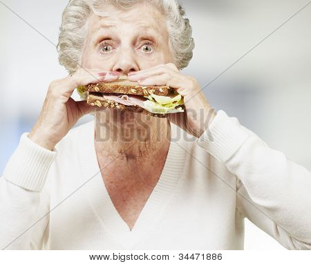 senior woman eating a healthy sandwich, indoor