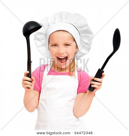 beautiful little girl with a spoon and a ladle over white