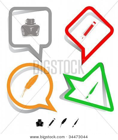Education icon set. Brush, inkstand, feather, pencil. Paper stickers. Raster illustration.