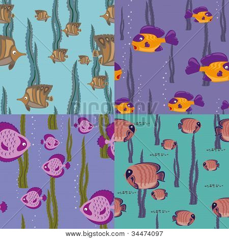seamless pattern pink fish