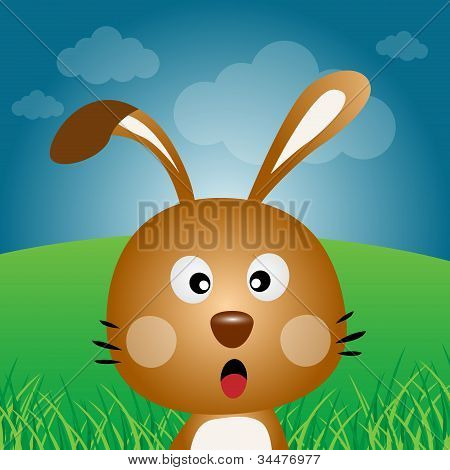 Brown rabbit in the forest