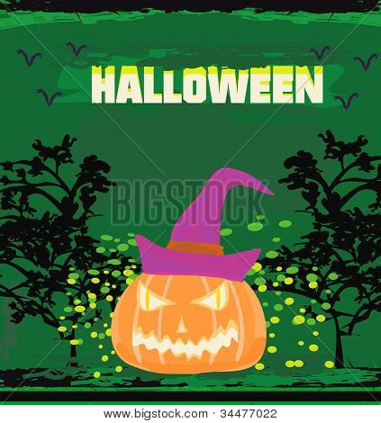 broken halloween pumpkin on grunge green background vector illustration