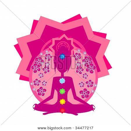 Pose de lótus de ioga. Padmasana com pontos coloridos de chakra.