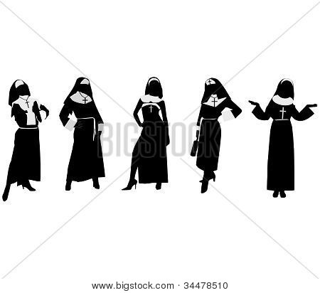 Silhouettes of nuns