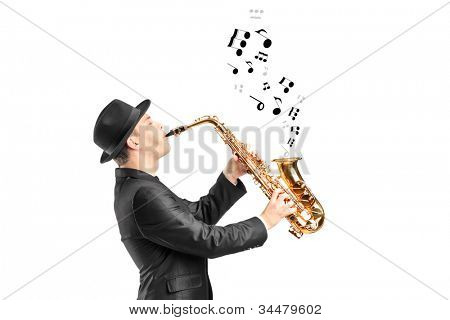 A male playing on saxophone and notes coming out isolated against background