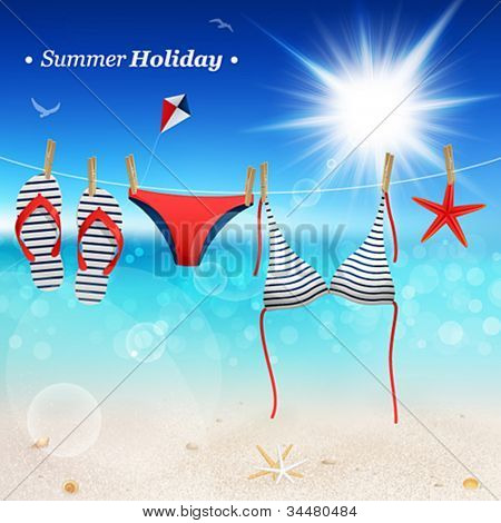 Hanging swimsuit and flip flops on seascape background. Vector illustration.