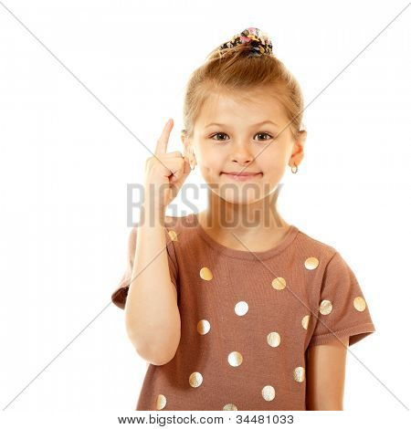 eureka! cute smiling little girl have an idea, isolated on white background