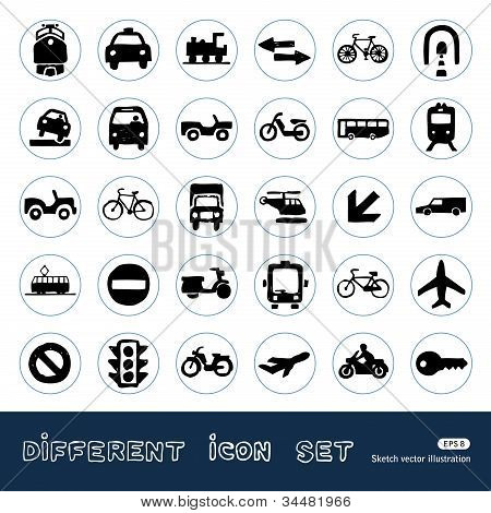 Transport, road signs and cars web icons set