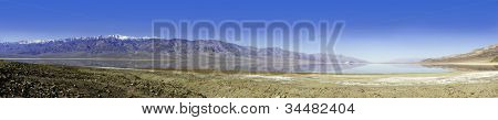 seasonal lake that forms during the winter rains in Death Valley which is surrounded by mountains