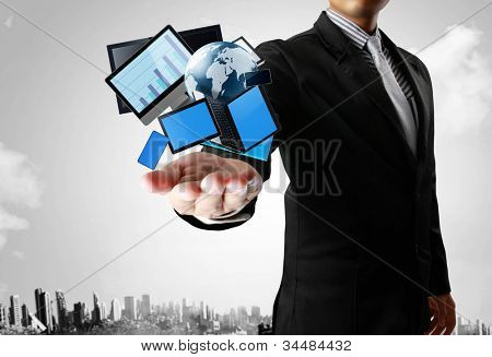 Ideas, Technology in the hands with businessman