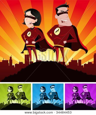 Hembra y macho de super Heroes