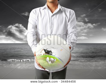 house in human a hands with businessman
