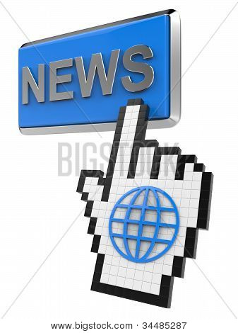 News button and hand cursor with icon of the globe.
