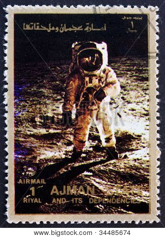 Postage stamp Ajman 1973 Aldrin walks on the Moon