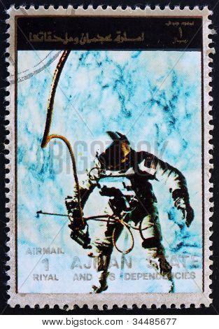 Postage stamp Ajman 1973 Edward White during Spacewalk, Gemini 4