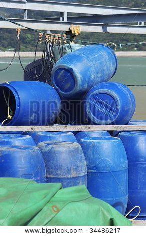 Blue plastic 200 litre barrel
