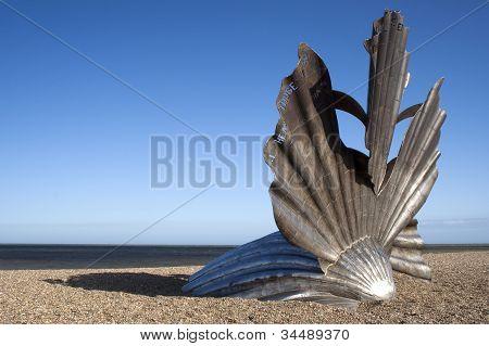 'Scallop' Sculpture By Maggie Hambling On Aldeburgh Beach, Suffolk, England