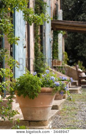 Terracotta Plant Pot Outside A Tuscan Farmhouse