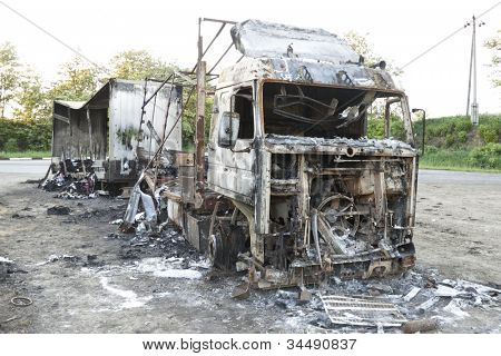 VINNITSA, UKRAINE - MAY 20: A car transporting the clothes through the Vinnitsa region is completely burned through electrical fault occurred the spark that lit the entire cargo May 20, 2012 in Vinnitsa,Ukraine