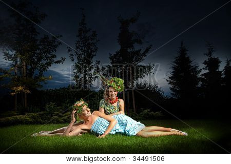 Two ladies in gorgeous garden