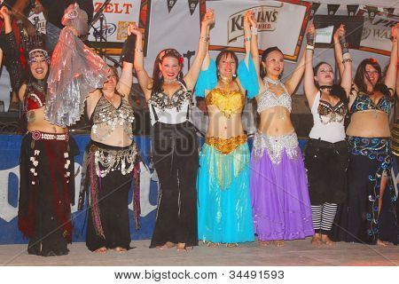 TULSA, OK - OCT 20: Dancers pose after their number at Oktoberfest in TULSA, OK, on October 20, 2011 in TULSA, OK. Tulsa is the origin of the first Oktoberfest Chicken Dance in the United States.