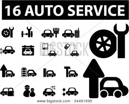 auto service icons set, vector