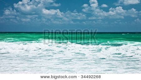Panoramic sea landscape, beautiful view at Mediterranean waters, blue ocean background, peaceful panorama, romantic place, summer seascape, holidays vacation and relax travel, nature harmony