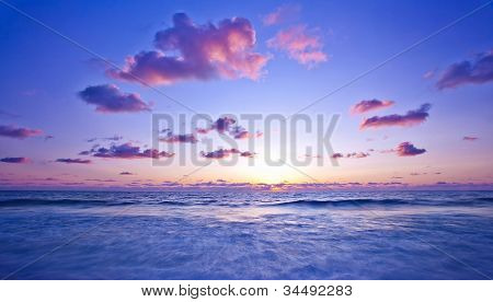Beach, pink light sunset, beautiful calm landscape of waterscape, peaceful Mediterranean sea panoramic view, zen blur motion on tide waves, deep ocean bay, summer scenic nature, vacation and travel