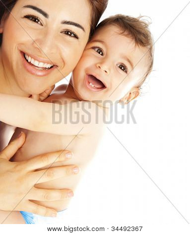 Happy family laughing faces, mother holding adorable child baby boy, smiling and hugging, close up border, beauty of smile, female isolated on white, healthy kid joyful mom, expressing love emotions