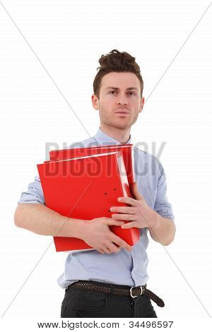 Serious Man With Folders