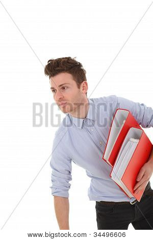 Portrait Of Young Man With Folders