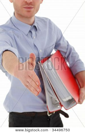 Young Man In Office Welcome With Hand