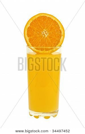 Glass Of Orange Juice And Half An Orange