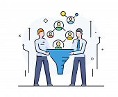 Businessmen Looking For Suitable Customers, Filter Partners. Cooperation Interaction. Vector Illustr poster