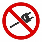 No Electric Cord Vector Icon. Flat No Electric Cord Pictogram Is Isolated On A White Background. poster