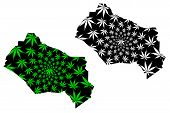 Kyzylorda Region (republic Of Kazakhstan, Regions Of Kazakhstan) Map Is Designed Cannabis Leaf Green poster