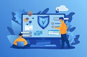 Personal Digital Security. Defence, Protection From Hackers, Scammers Flat Vector Illustration. Data poster