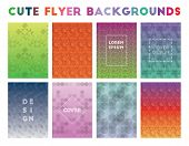 Cute Flyer Backgrounds. Admirable Geometric Patterns, Exotic Vector Illustration. poster