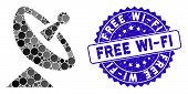 Mosaic Antenna Icon And Corroded Stamp Seal With Free Wi-fi Caption. Mosaic Vector Is Formed With An poster