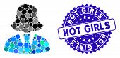 Mosaic Business Lady Icon And Rubber Stamp Watermark With Hot Girls Caption. Mosaic Vector Is Formed poster