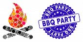 Mosaic Campfire Icon And Grunge Stamp Seal With Bbq Party Phrase. Mosaic Vector Is Formed With Campf poster