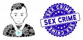 Mosaic Champion Icon And Distressed Stamp Seal With Sex Crime Text. Mosaic Vector Is Created With Ch poster