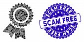Collage Certification Seal Icon And Corroded Stamp Seal With Scam Free Text. Mosaic Vector Is Compos poster