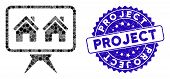 Mosaic Realty Project Icon And Distressed Stamp Seal With Project Caption. Mosaic Vector Is Formed W poster