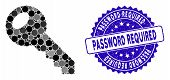 Mosaic Room Key Icon And Rubber Stamp Seal With Password Required Text. Mosaic Vector Is Created Wit poster