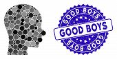 Mosaic Boy Head Icon And Grunge Stamp Seal With Good Boys Caption. Mosaic Vector Is Formed With Boy  poster
