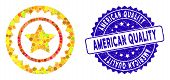 Mosaic Quality Stamp Icon And Rubber Stamp Watermark With American Quality Text. Mosaic Vector Is Fo poster